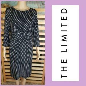 THE LIMITED Polka Dot Knot Dress 3/4 Sleeve